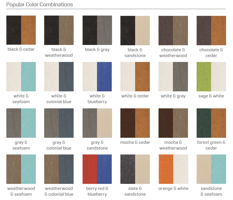 Discover the most popular color combinations for the full Breezesta line of premium outdoor recycled poly lumber furniture.