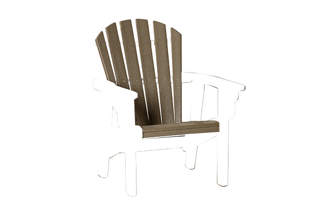 Quick Ship Coastal Upright Adirondack Chair (black/weatherwood)